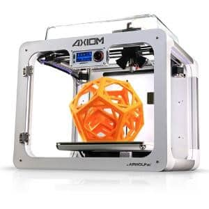 Airwolf 3D AXIOM 3D printer with a completed orange object on the build platform