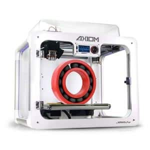 Airwolf 3D AXIOM DUAL 3D printer with a completed bearing in red and black materials on the build platform
