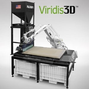 EnvisionTEC's Viridis 3D Printing system for creating sand casting molds and cores; shows robotic arm, build platform, and sand storage hopper.