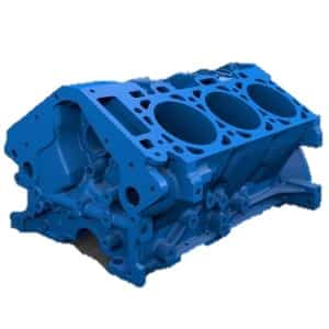 MakerBot 3D printed engine block in blue PLA material