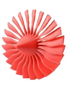 Fusion3 3D printed turbine in orange ABS material
