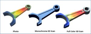 Three images of a connecting rod from left to right: a photo, a monochrome 3D scan, and a full color 3D scan.