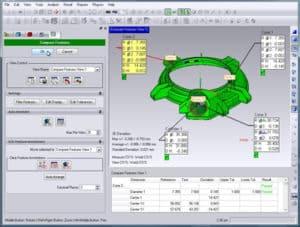 An image of a screen shot of Geomagic's Control X Software, an application used by Schneider Electric to compare 3D scanning results with the as designed 3D model.