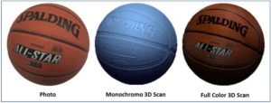 Three images of a basketball from left to right: a photo, a monochrome 3D scan, and a full color 3D scan.