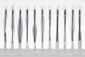 Formlabs Form2 3D printed models of several pens in clear and tough resins.