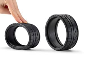 Formlabs Form2 3D printed model of a black tire in flexible resin.