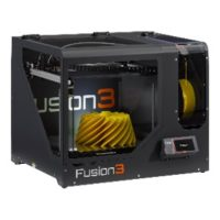 Fusion3 F410 3D Printer with a grey chassis and a yellow turbine on the build platform.