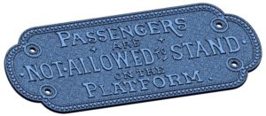 "3D model of a brass plaque exported from Geomagic Design X software that reads, ""Passengers are not allowed to stand on the platform."""