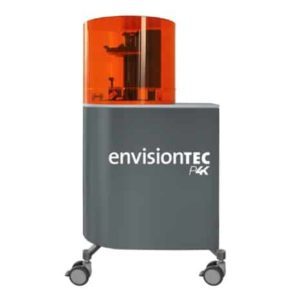 EnvisionTEC Perfactory P4K Series 3D printer with a grey chassis and an orange UV hood.