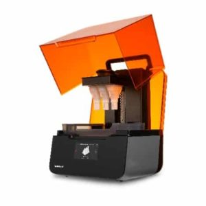Formlabs Form 3 3D printer shown with the amber UV shield hinged open.