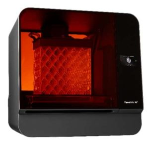 Formlabs Form 3L 3D printer with a grey chassis and orange UV shield that is closed.