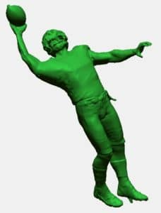 3D model of Odell Beckham's famous one-handed catch for the NY Giants in 2014. This formed the foundation for creating a customized hood ornament using 3D scanning and 3D printing.