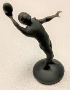 3D scanning and 3D printing technologies were used to create this customized hood ornament of Odell Beckham's famous one-handed catch in 2014 for the NY Giants football team.