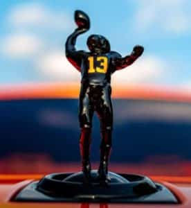 Custom 3D printed hood ornament for Odell Beckham's Rolls Royce showing his famous one-handed catch in 2014 the NY Giants football team.