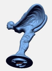 3D scanned Rolls Royce production hood ornament. The scanned data was used as reference information to create a 3D model of the mounting features.