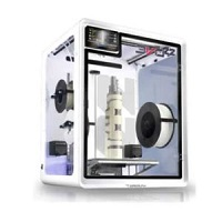 Airwolf 3D EVO 22 dual extrusion 3D printer with a white enclosure and a completed part on the build platform.