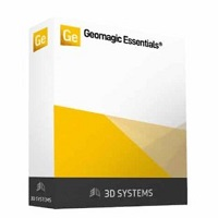 Yellow, white, and black box showing Geomagic Essentials software for efficiently processing and migrating scan data to native CAD software.