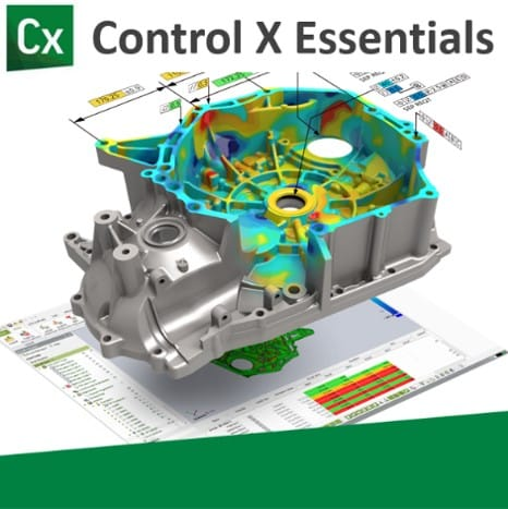 Control X Essentials graphic showing a heat map and dimensional tolerances.